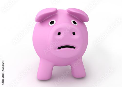 bankruptcy crisis concept - sad piggy bank Poster