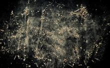 Explosion Of Sawdust On Black ...