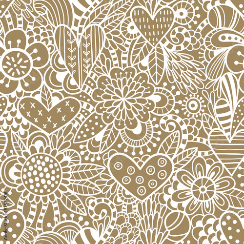 Hearts and flowers seamless pattern
