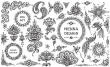 Vector Set Of Henna Floral And...