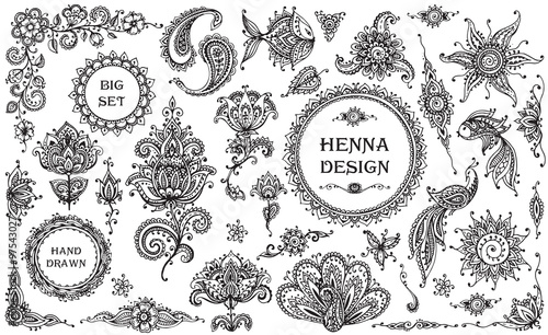 Valokuva  Vector Set of henna floral and animal elements