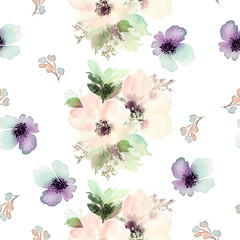 FototapetaSeamless pattern with flowers watercolor. Gentle colors. Female