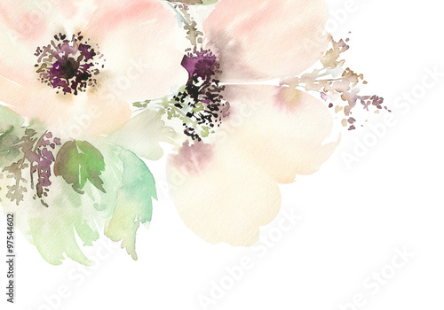 Foto  Greeting card with flowers. Pastel colors. Handmade. Watercolor