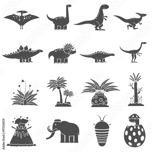 Fotografering  Dinosaurs Black Set