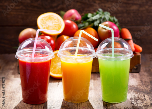 Poster Sap Fresh juices with fruits and vegetables