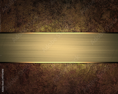 Fotografía  Grunge background with a gold sign for text