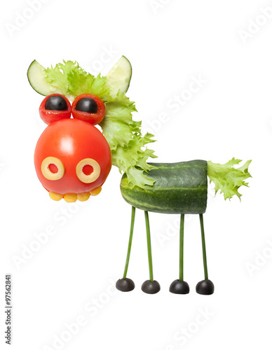 Horse made of fresh vegetables on isolated background