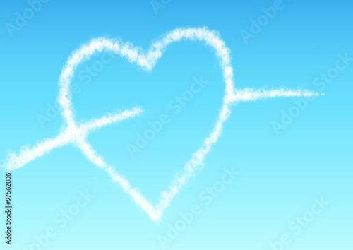 ハートの飛行機雲 Adobe Stock でこのストックイラストを購入して