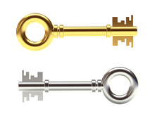 Golden And Silver Keys Isolated On White Background