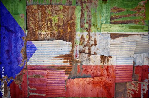 Fotografía  Corrugated Iron Equatorial Guinea Flag