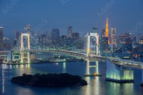 Fototapety, obrazy: Tokyo Bay at Rainbow Bridge