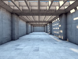 Fototapeta Persperorient 3d - Long tunnel of concrete