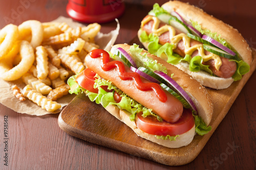 hot dog with ketchup mustard and vegetables Fototapet