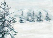 Abstract Snowy Land With Pine Tree Hand Painted Background. High Resolution Scan.