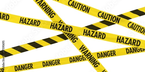 Fotografia  Overlapping Caution, Warning, Danger and Hazard Tape Background