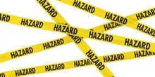 Yellow HAZARD Barrier Tape Background Isolated On White