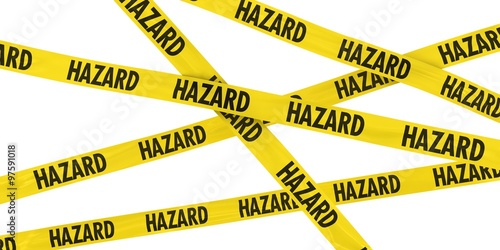 Fotografie, Obraz  Yellow HAZARD Barrier Tape Background Isolated on White