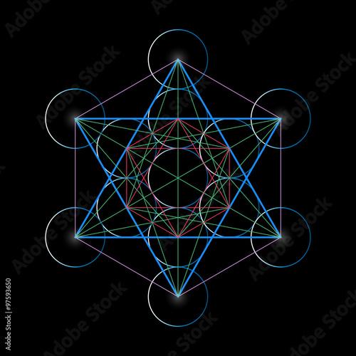 Metatrons Cube. Basics of Sacred geometry, vector Illustration. Canvas Print