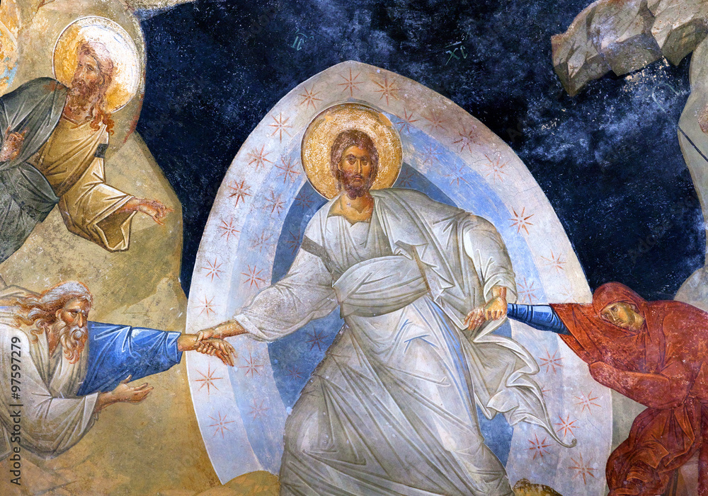 Fototapety, obrazy: Ancient fresco 'the Anastasis' in the Chora Church in Istanbul, Turkey