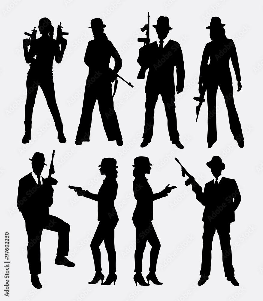 Fototapeta Gangster with gun, male and female pose silhouettes. Good use for symbol, game elements, logo, web icon, mascot, sticker, sign, or any design you want. Easy to use, edit or change color.