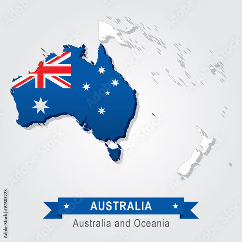 Australia Map And Flag.Australia Australia And Oceania Map Flag Version Buy This Stock