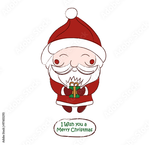 cute chibi Santa Claus vector drawing card Poster
