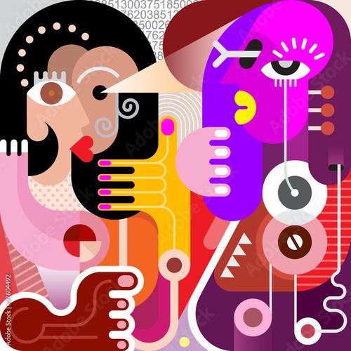 Poster Art abstrait Two Women