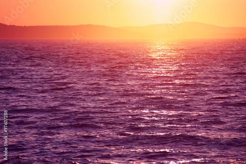 Beautiful vivid sunset in Zadar, Croatia.