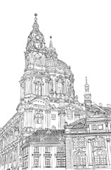 Prague town, Czech Republic. Church Of St. Francis and Square of the Knights. European city, black & white vector sketch hand drawn collection.