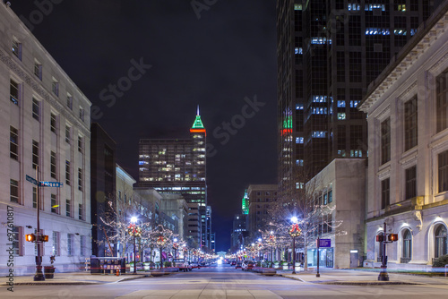 skyline of Raleigh, North Carolina at night