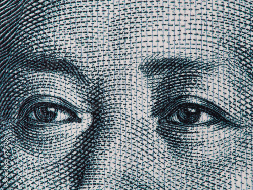 Mao Zedong eyes on chinese 10 yuan banknote macro, China money c Canvas-taulu