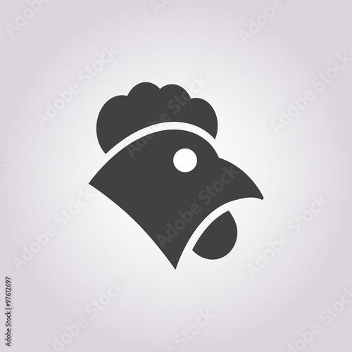 Stampa su Tela cock icon on white background