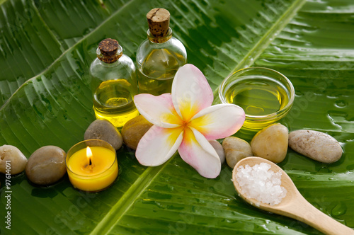 Poster Spa Health spa with massage oil and two orchid, candle on leaf
