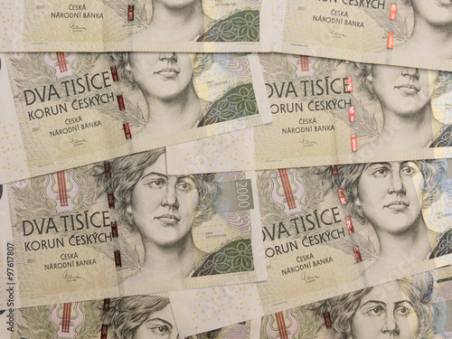 Poster  2000 Czech koruna banknotes