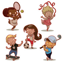 Vector Cartoon Image Of Five Funny Children - Sportsmans: Tennis Player, Gymnast, Football Player, Golfer And Skater On A White Background.