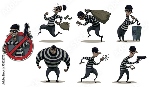 Fotografia Vector cartoon image of a colored set of differents retro robbers in black masks, striped dress and with different attributes of theft in the hands on a white background