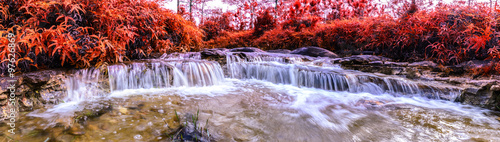 Panoramic view of Beautiful autumn waterfall in deep forest.