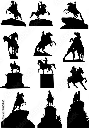 Canvas Print set of twelve horseman statues isolated on white