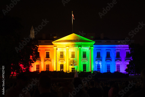 Fotografie, Obraz  The White House Lit in Rainbow Colors