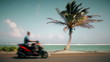 Motion-Photo (Cinemagraph) of a Palm Tree Symbol of Vacation and a blurry Motorcycle