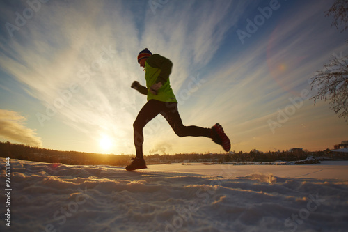 Poster Glisse hiver Running in winter