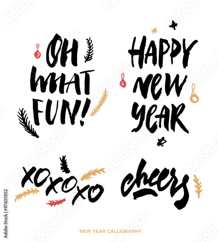 Oh what Fun! Happy new year. Xo xo xo. Cheers. Christmas calligraphy ...