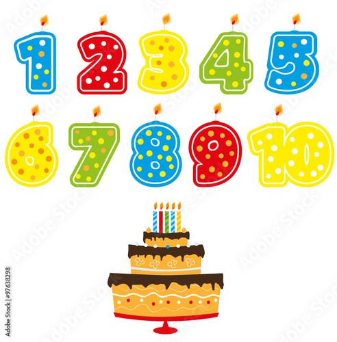 Numbered Birthday Candles With Numbers 1 10 And Cake White Background