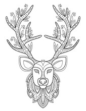 Patterned Deer Head With Big A...
