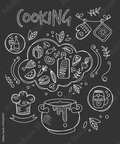 biale-ikony-jedzenia-na-tle-tablicy-i-napis-cooking