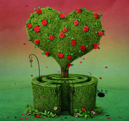 Fairy tale illustration with  flowering tree in  shape of  heart and  labyrinth