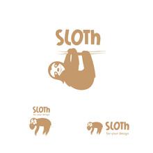 Cartoon Sloth  Logo. Vector Image. Three Options Of  Logo.