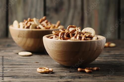 Fotografia, Obraz  Unhealthy snack on the wooden table