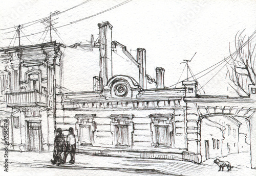 Fototapeta Street of the old town, drawing obraz na płótnie