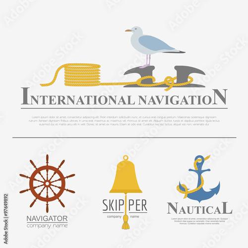 Fotografía  Set of sailing boat and nautical logos.